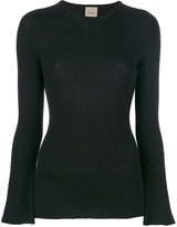 Nude slim fit ribbed top - women - Wool - 40