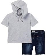 Hudson Hooded Tee & Denim Short Set (Toddler Boys)