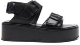 Ann Demeulemeester Leather Platform Sandals in Black.