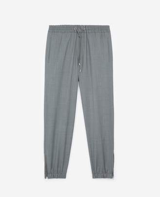 The Kooples Grey wool joggers elastic waist drawstrings