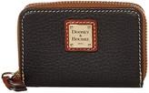 Dooney & Bourke Pebble Zip Around Credit Card Case (Black/Tan Trim) Handbags