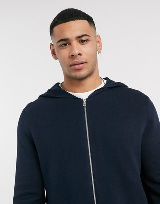 Asos Design DESIGN knitted zip hoodie with pockets in navy