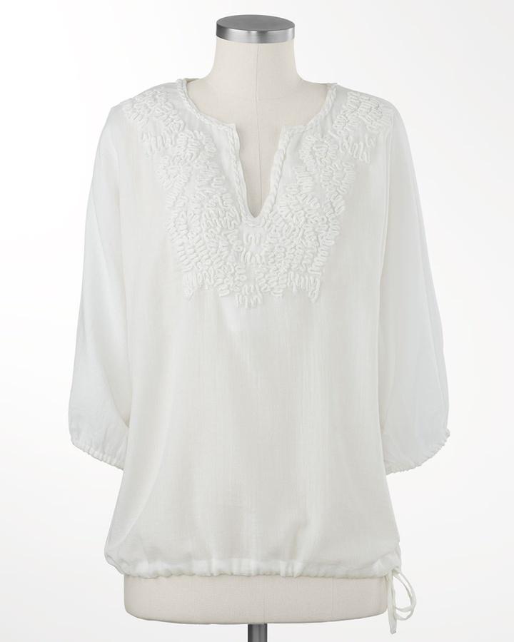 Coldwater Creek Sheer soutache blouse