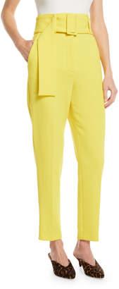 Sara Battaglia High-Waist Slim-Leg Wool Pants w/ Belt