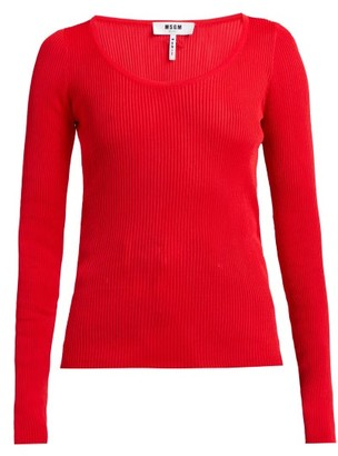 MSGM Scoop-neck Stretch-knit Top - Womens - Red