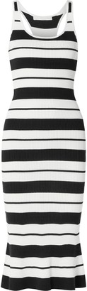 Jason Wu Striped Ribbed Silk-blend Midi Dress