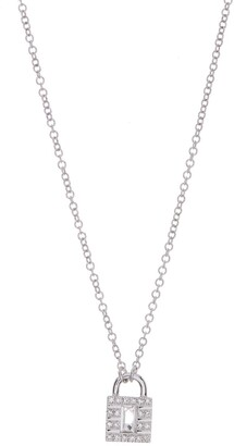 Ef Collection 18k White Gold Diamond Lock Rolo Chain Necklace - 0.06 ctw