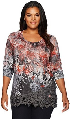 One World ONEWORLD Women's Long Sleeve Holiday Print Sweater Knit Top