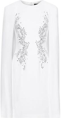Jenny Packham Cape-back Crystal-embellished Crepe Mini Dress