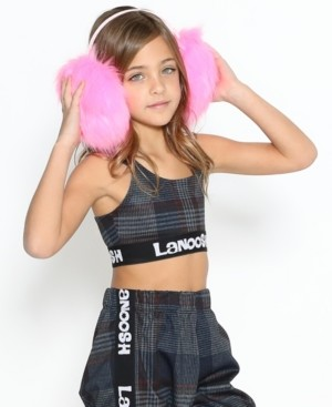 Lanoosh Big Girls Fitted Sports Bra with Trendy Logo Elastic Band in A Racerback Straps