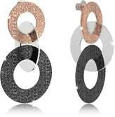 Rebecca R-Zero Black Ruthenium and Rose Gold Over Bronze Stud Drop Earrings