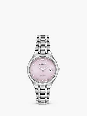 Citizen Women's Silhouette Diamond Eco-Drive Date Bracelet Strap Watch