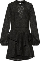 Rebecca Vallance Cutout ruffled corded lace mini dress