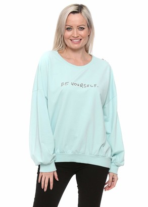 Designer Desirables Made in Italy Mint Green Be Yourself Logo Zippy Sweater One Size Green