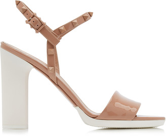 Valentino Garavani Studded Two-Tone Patent Leather Sandals