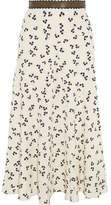 Roksanda Moraya Leather-Trimmed Printed Silk Crepe De Chine Midi Skirt