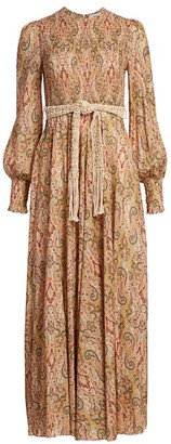 Zimmermann Freja Paisley Puff-Sleeve Midi Dress