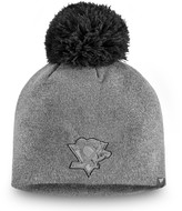 Women's Fanatics Branded Gray Pittsburgh Penguins Versalux Marled Tech Knit Beanie with Pom