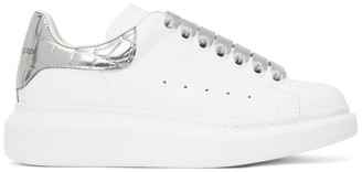 Alexander McQueen SSENSE Exclusive White and Silver Croc Tab Oversized Sneakers