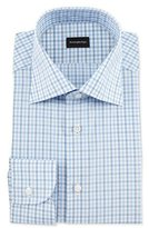 Ermenegildo Zegna Multi-Check Woven Dress Shirt, Blue