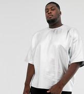 Asos Design DESIGN Plus oversized t-shirt with half sleeve in metallic