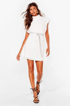 Nasty Gal Womens Best I Texture Had High Neck Mini Dress - White - 8, White