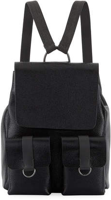 Brunello Cucinelli Shiny Leather Flap Backpack