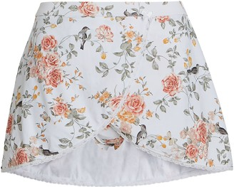 WeWoreWhat Floral Toile Skirt Bikini Bottoms