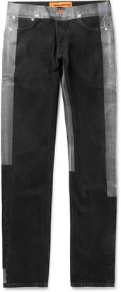 Heron Preston Slim-Fit Logo-Detailed Taped Denim Jeans