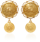 Dolce & Gabbana Lion-Embossed Gold-Plated Drop Earrings