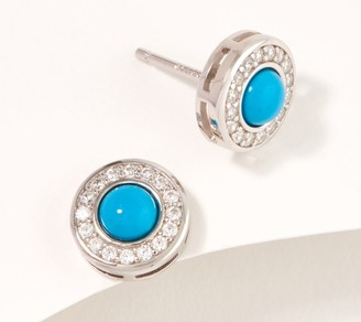 Diamonique Simulated Turquoise Halo Stud Earrings, Sterling Silver
