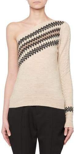 Isabel Marant One-Shoulder Wild West Intarsia Wool-Blend Sweater