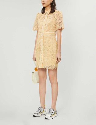 Sandro Live embroidered-floral lace mini dress