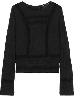 Veronica Beard Carmen Crochet-trimmed Embroidered Cotton-gauze Top
