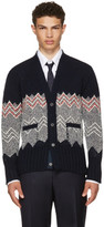 Thom Browne Navy Fair Isle Classic V-neck Cardigan