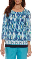 Alfred Dunner Scenic Route 3/4 Sleeve Round Neck Ikat Border T-Shirt