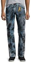 Robin's Jeans Paint-Splatter Denim Jeans, Black