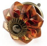 Knobs & More Home Decor Old Amber Glass Cabinet Knobs, Drawer Pulls & Handles Set/8pc ~ K85 Old Amber Melon Style Glass Knobs with Antique Brass Hardware ~ Glass Knobs, Handles & Pulls for Dresser, Drawers, Cabinets & Vanity
