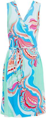 Emilio Pucci Gathered Printed Stretch-jersey Mini Wrap Dress