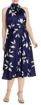 Adrianna Papell Plus Size Tossed Leaves Halter Dress