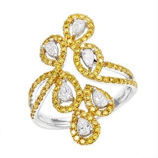Ladies Cocktail Designer Yellow & White Diamond Ring 1.15ctw in 14k Gold by Luxurman