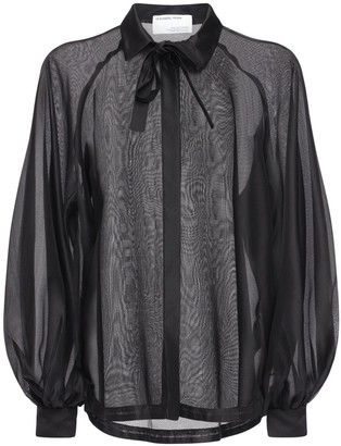Designers Remix Enola Satin Shirt W/ Balloon Sleeves