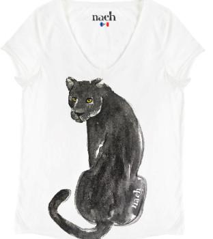 Nach White Black Panther T Shirt - medium