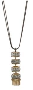 Christian Siriano New York Christian Siriano Black Tone Necklace with Gold Tone Y Tassel Pendant