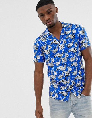 Solid slim fit shirt revere collar hibiscus print-Blue
