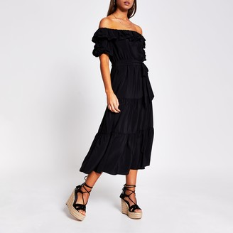 River Island Womens Black bardot frill midi dress