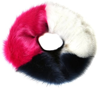 Accessoryo White Navy and Pink Fluffy Faux Fur Snood Neck Warmer Single Loop Snood Scarf Warm Winter Scarf For Women