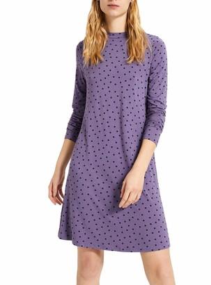 White Label M&S Marks Spencer Lilac Spot Swing Dress Stretch Jersey Round Neck Long Sleeve Size 16