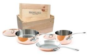 Mauviel M'heritage 150, 5-Piece Copper Cookware Set in Wooden Crate