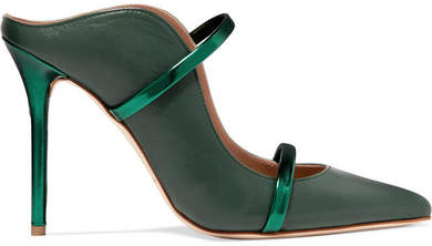 Malone Souliers Maureen 100 Metallic-trimmed Leather Mules - Army green